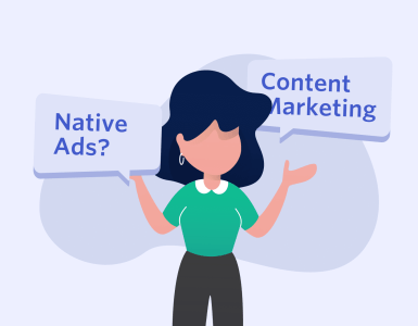 An image of a women trying to decide between Native advertising and content marketing.
