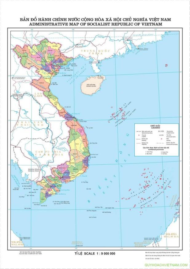 Bản đồ hành chính 64 tỉnh thành nước Việt Nam