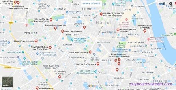 Bản đồ các trường đại học ở Hà Nội