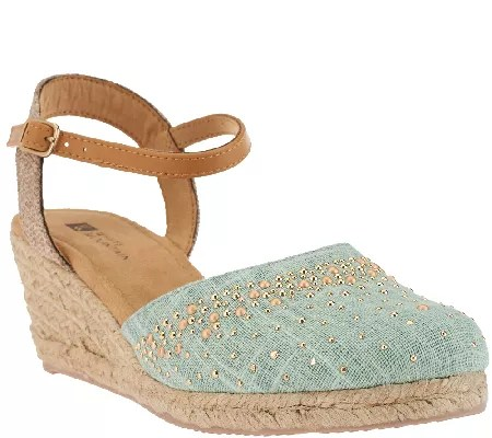 White Mountain Closedtoe Espadrille Wedges Sail Boat