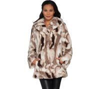 Dennis Basso Sculpted Faux Fur Shawl Collar Coat - Page 1 ...
