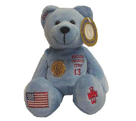 Rhode Island State Quarter Bear With 24K Gold Plated