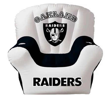 oakland raiders chair pink papasan inflatable with two drinkholders qvc com