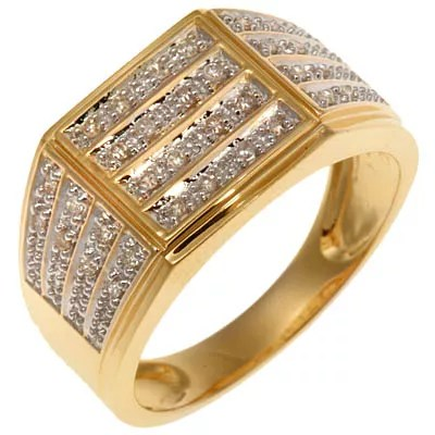32 Diamanten zus ca023ct WeiP1 HerrenRing Gold 585