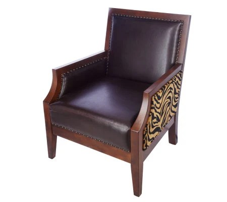 Kenneth Brown Faux Leather Animal Print Accent Chair w