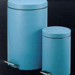 Qvc.com Shopping Kitchen Cheap Tables And Chairs Aqua Round Step-on Trash Can - Set Of 2 —