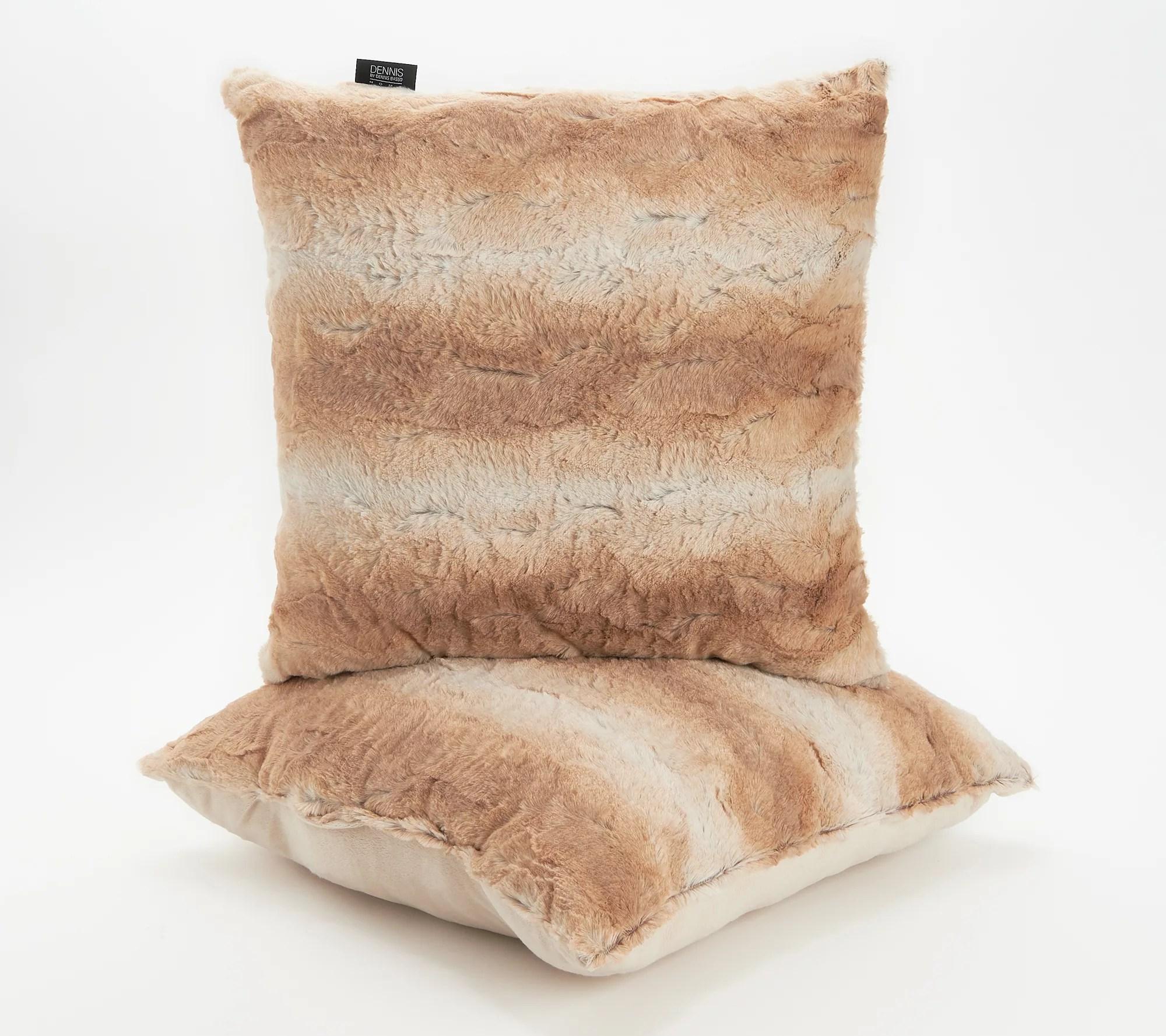 dennis basso 18 x 18 set of 2 faux fur pillows qvc com