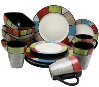 Elama Country Cottage 16-Piece Stoneware Dinnerware Set ...