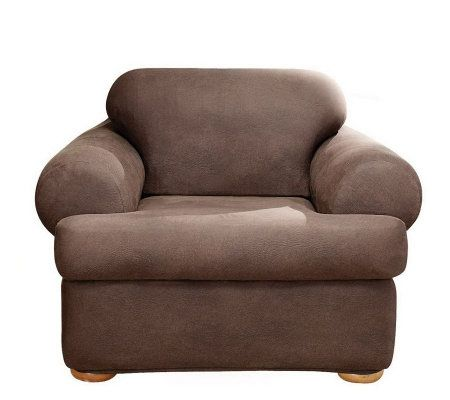 Sure Fit Stretch FauxLeather TCushion Chair Slipcover