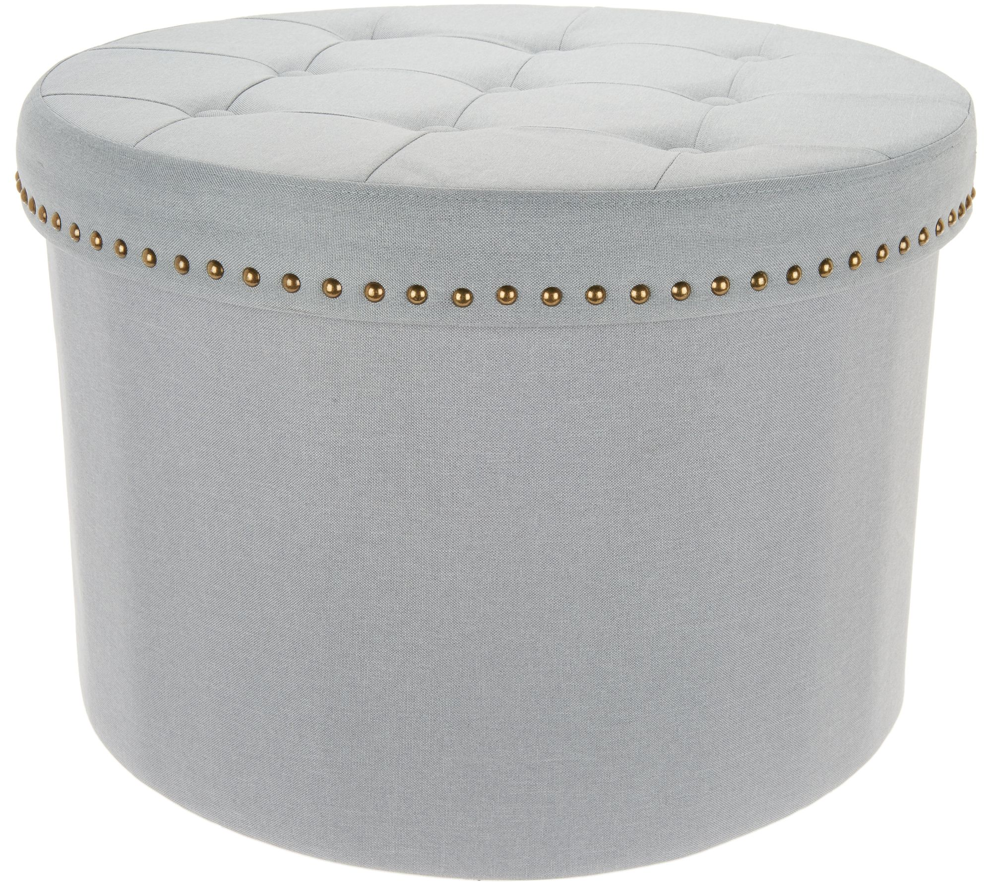 Inspire Me Home Decor 24 Round Tufted Collapsible Storage