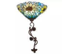 Stained Glass Battery Operated Sunflower Wall Sconce ...