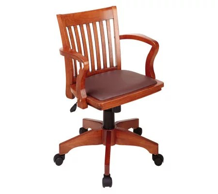 office chair qvc hyperextension vs roman star seating furniture com deluxe banker s by fruit wood brown h175585