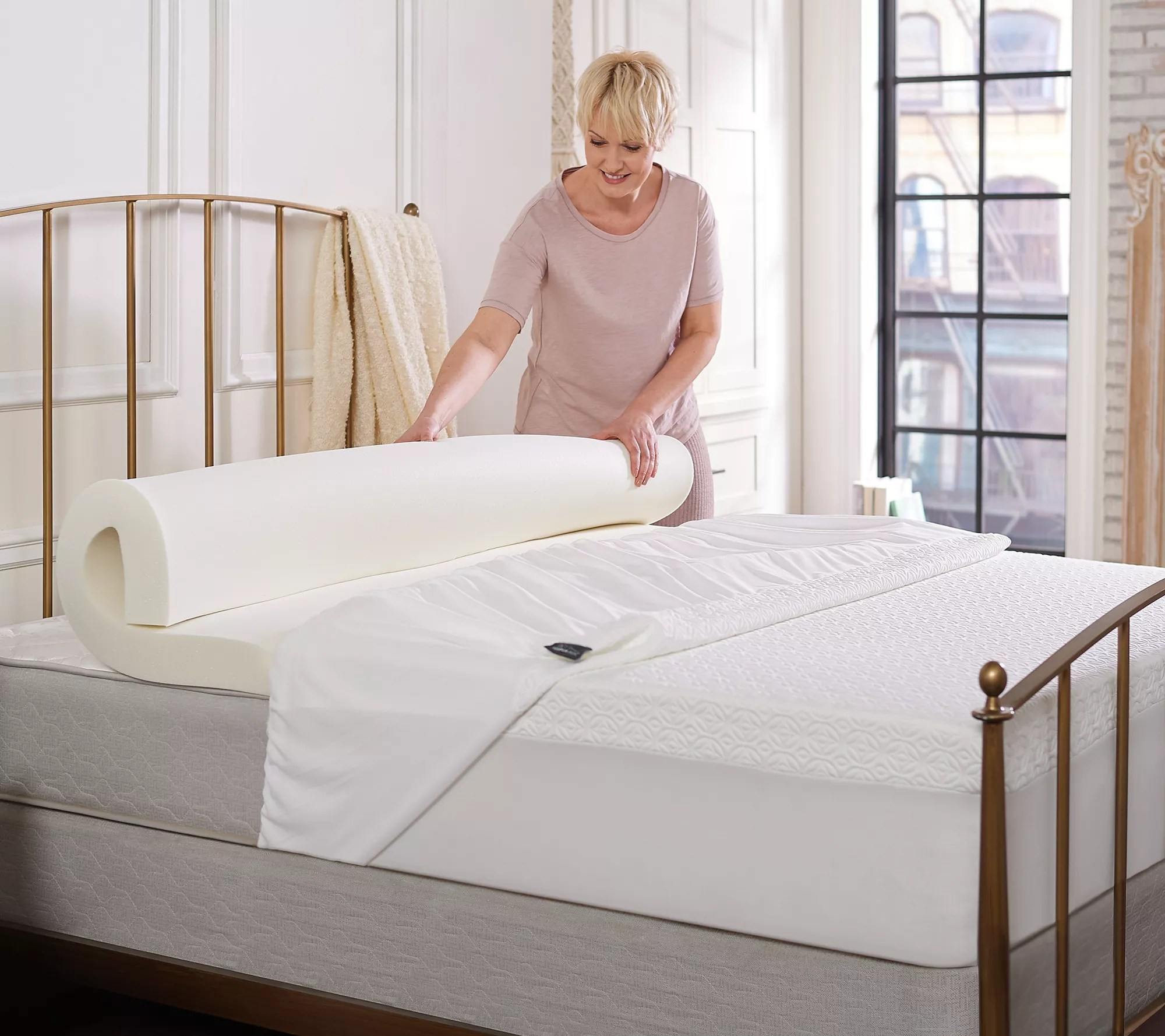 tempur pedic 3 comfort and support topper with cover and skirt king qvc com