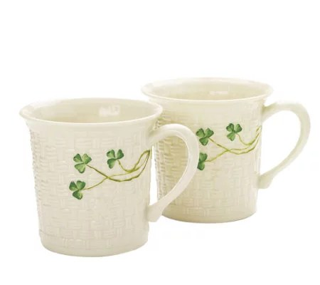 Belleek Everyday Set Of 2 Mugs With Shamrock Detail