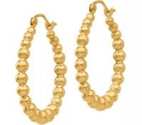 14K Beaded Round Hoop Earrings