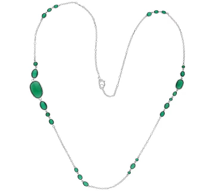 Judith Ripka Sterling Green Chalcedony StationNecklace