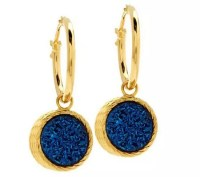 VicenzaGold Reversible Drusy Quartz Dangle Earrings 14K ...