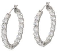 Diamonique 30 Stone Hoop Earrings, Sterling - Page 1  QVC.com