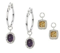 Drusy Quartz Interchangeable Sterling Hoop Earrings
