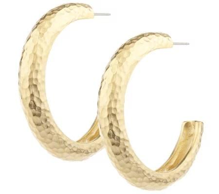 Erwin Pearl Hammered Hoop Earrings