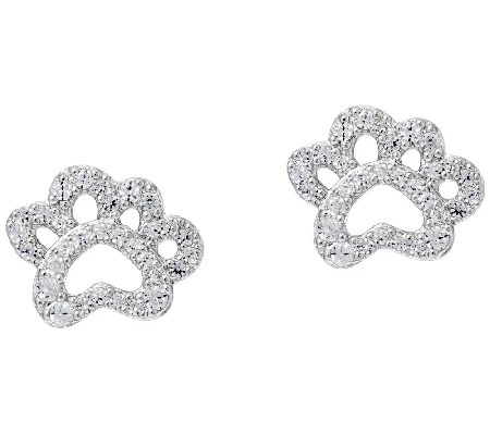 Diamonique Paw Print Stud Earrings, Sterling