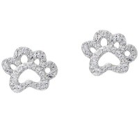Diamonique Paw Print Stud Earrings, Sterling