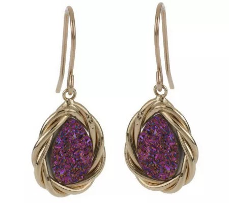VicenzaGold Pear Shaped Drusy Quartz Earrings 14K Gold