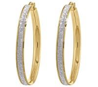 14K Gold Large Glitter Infused Hoop Earrings  QVC.com