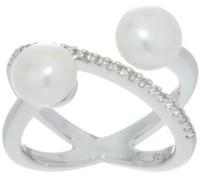 Honora X-Design Double Cultured Pearl Ring, Sterling ...