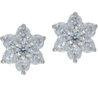 Diamonique Floral Cluster Stud Earrings, Sterling - Page 1 ...