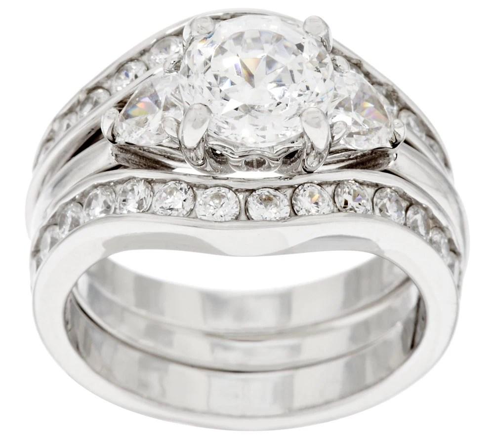 As Is Diamonique 100 Facet 2 Pc Bridal Ring Set Platinum