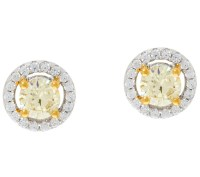 Diamonique Canary Yellow Halo Stud Earrings, Sterling ...