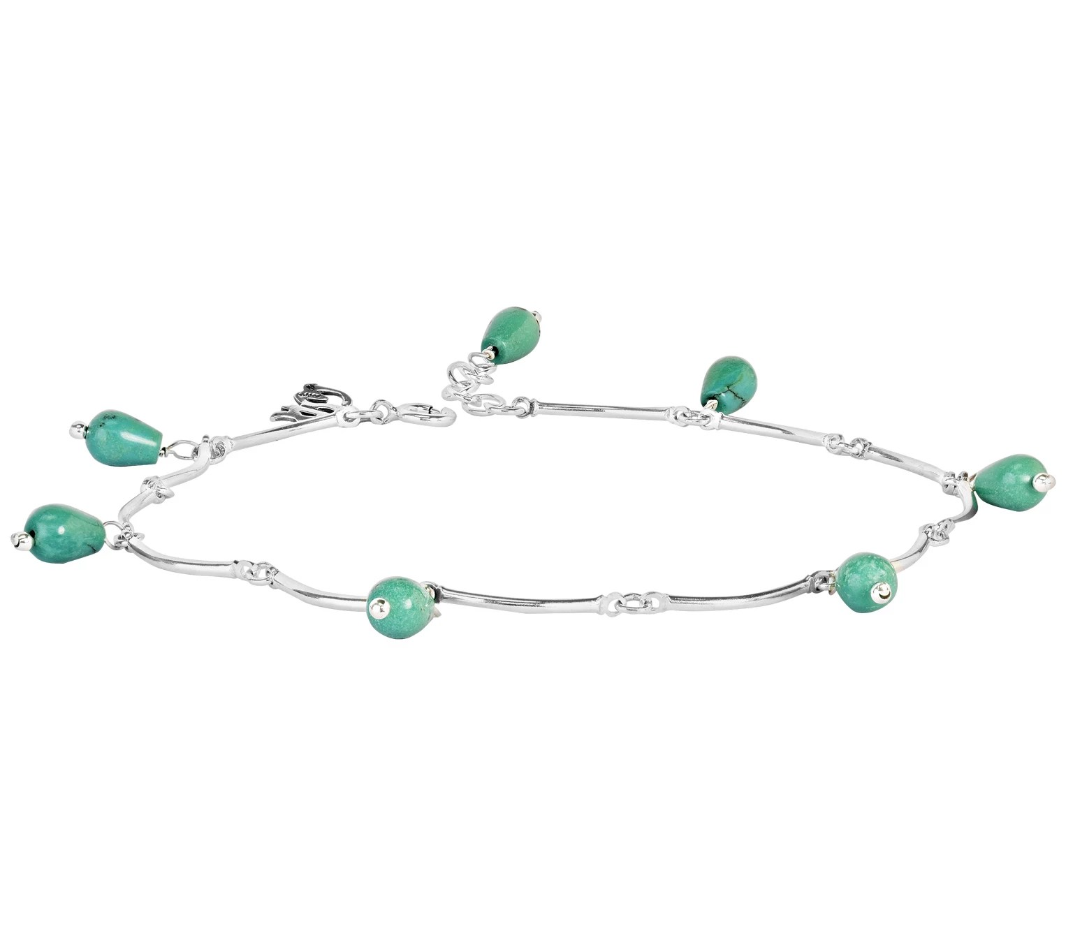 American West Sterling Green Turquoise Bead Ankle Bracelet