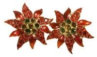 Enamel & Crystal Poinsettia Earrings  QVC.com