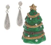 Diamond Cut Teardrop Earrings w/ Christmas Tree Box, 14K ...