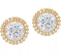 """As Is"" Diamonique Bead Border Stud Earrings, 14K Gold ..."