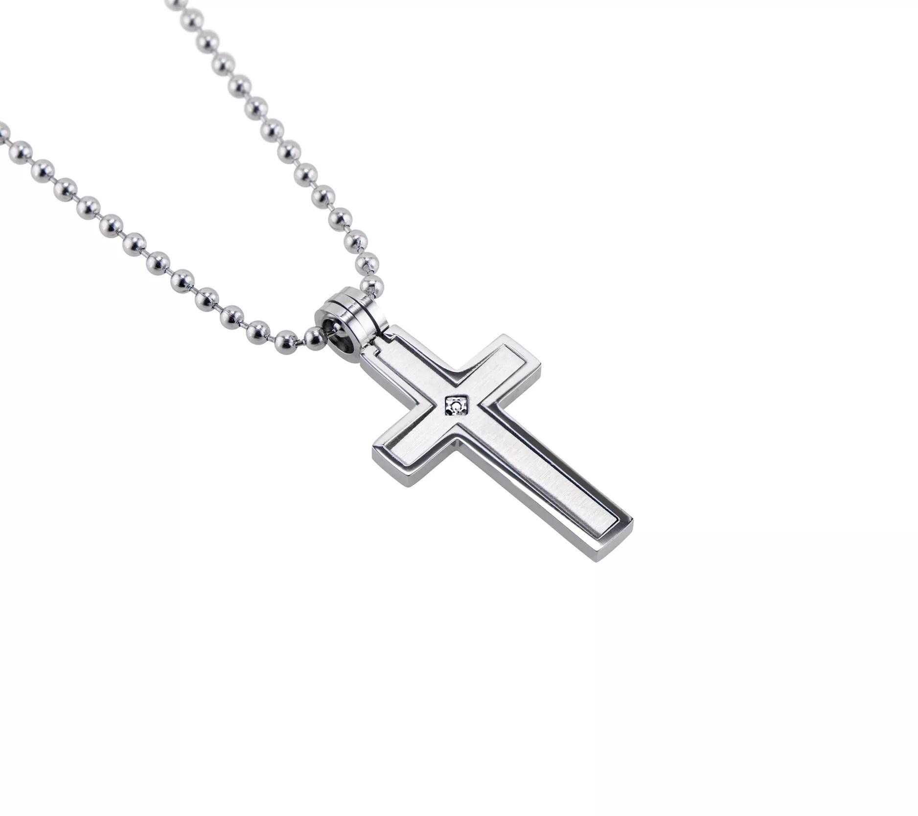 James Michael Men's Stainless Diamond Accent Cross w