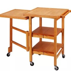 Folding Kitchen Cart How To Remodel A Island Expandable Hardwood Qvc Com