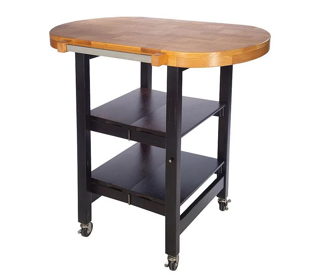 Folding Island Oval Shape Kitchen Cart W Butcher Block Style Top