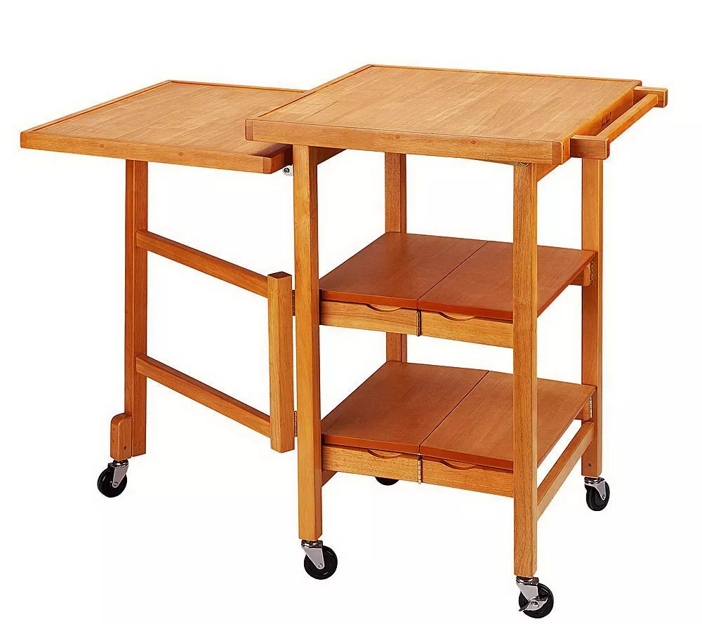 "As Is"" Folding Island Expandable Hardwood Kitchen Cart Page 1"