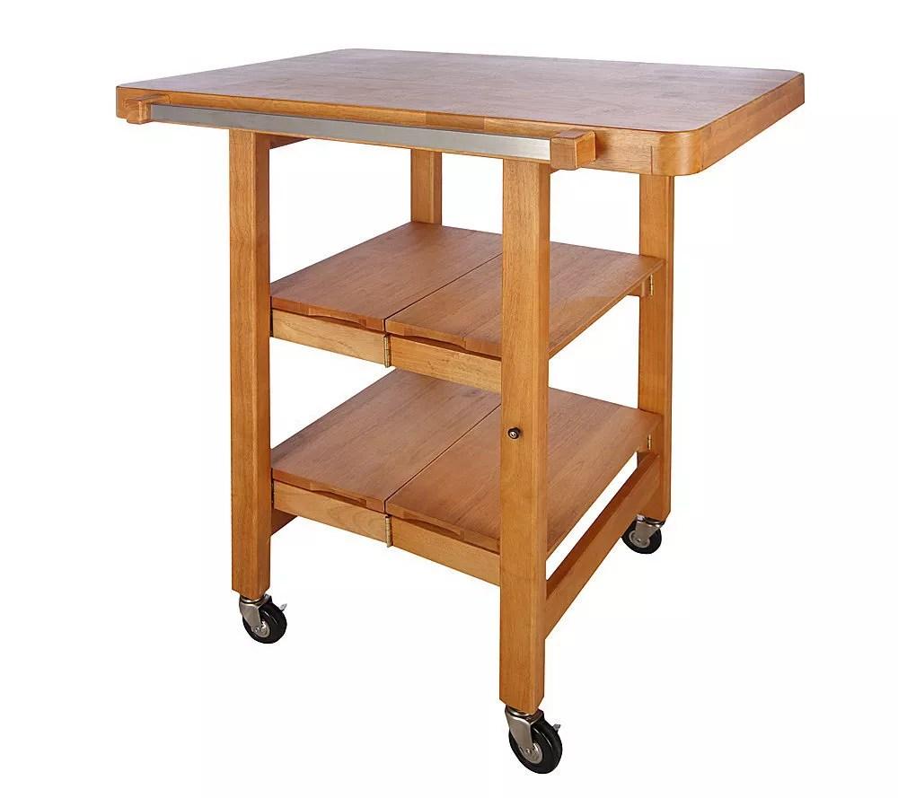 folding kitchen cart hot pads island rectangular w butcher block style top qvc com back to video