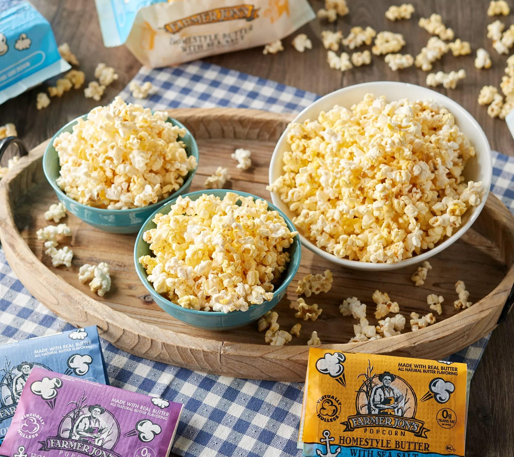 farmer jon s 20 3 5 oz bags homestyle popcorn qvc com
