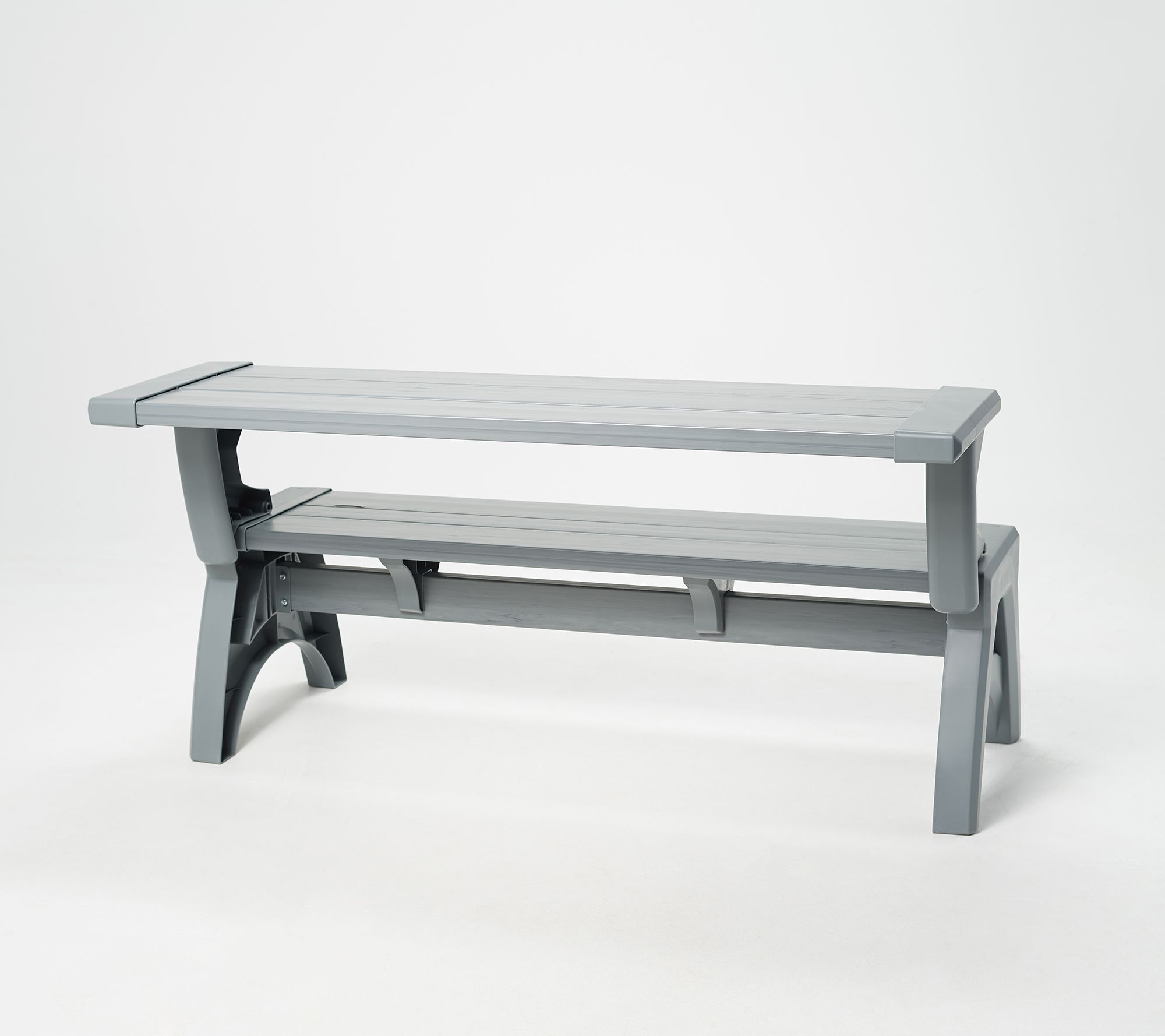 convert a bench gen ii xl designer series outdoor 2 in 1 bench to table qvc com