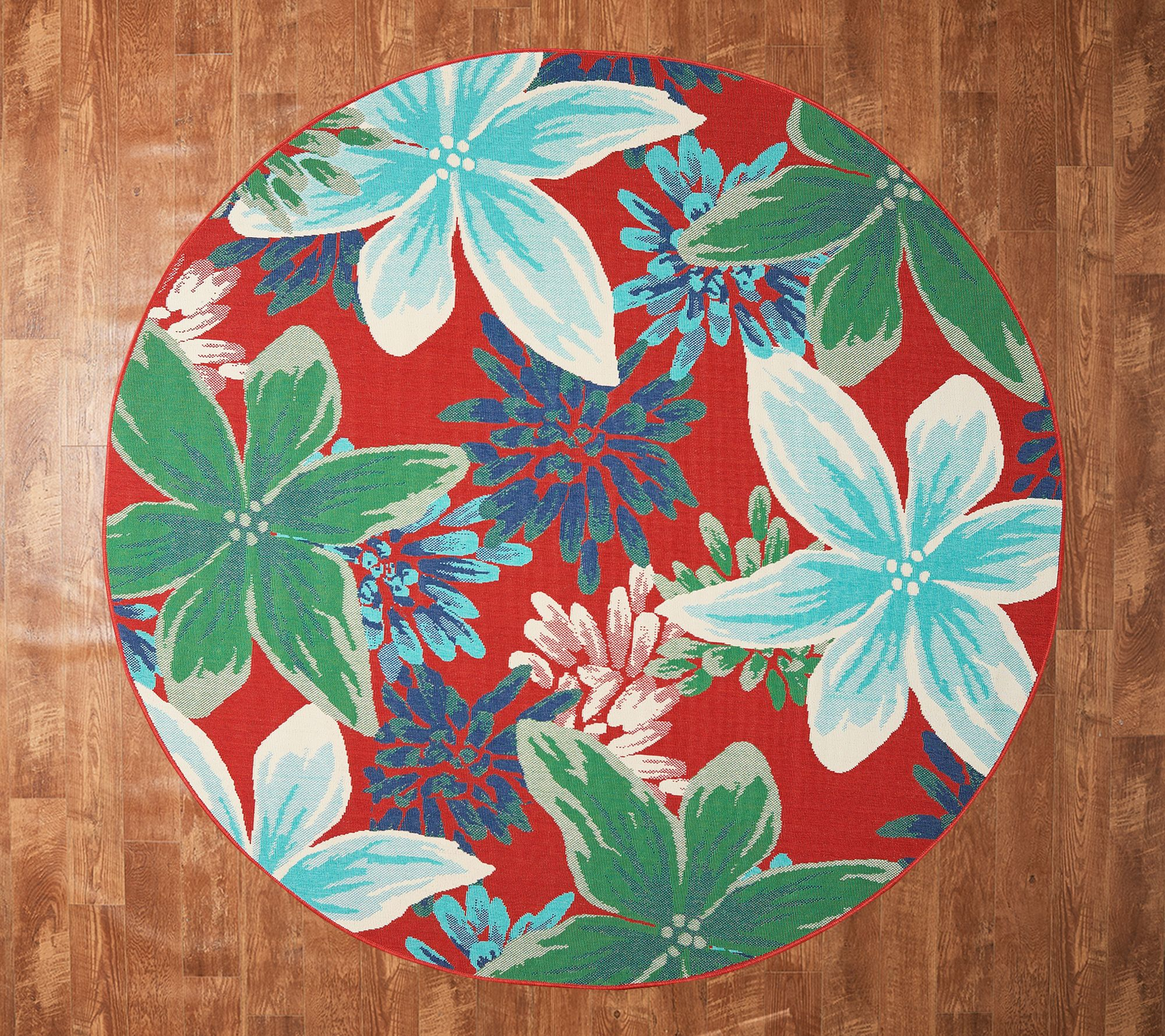 tommy bahama 94 round whimsical floral indoor outdoor rug qvc com
