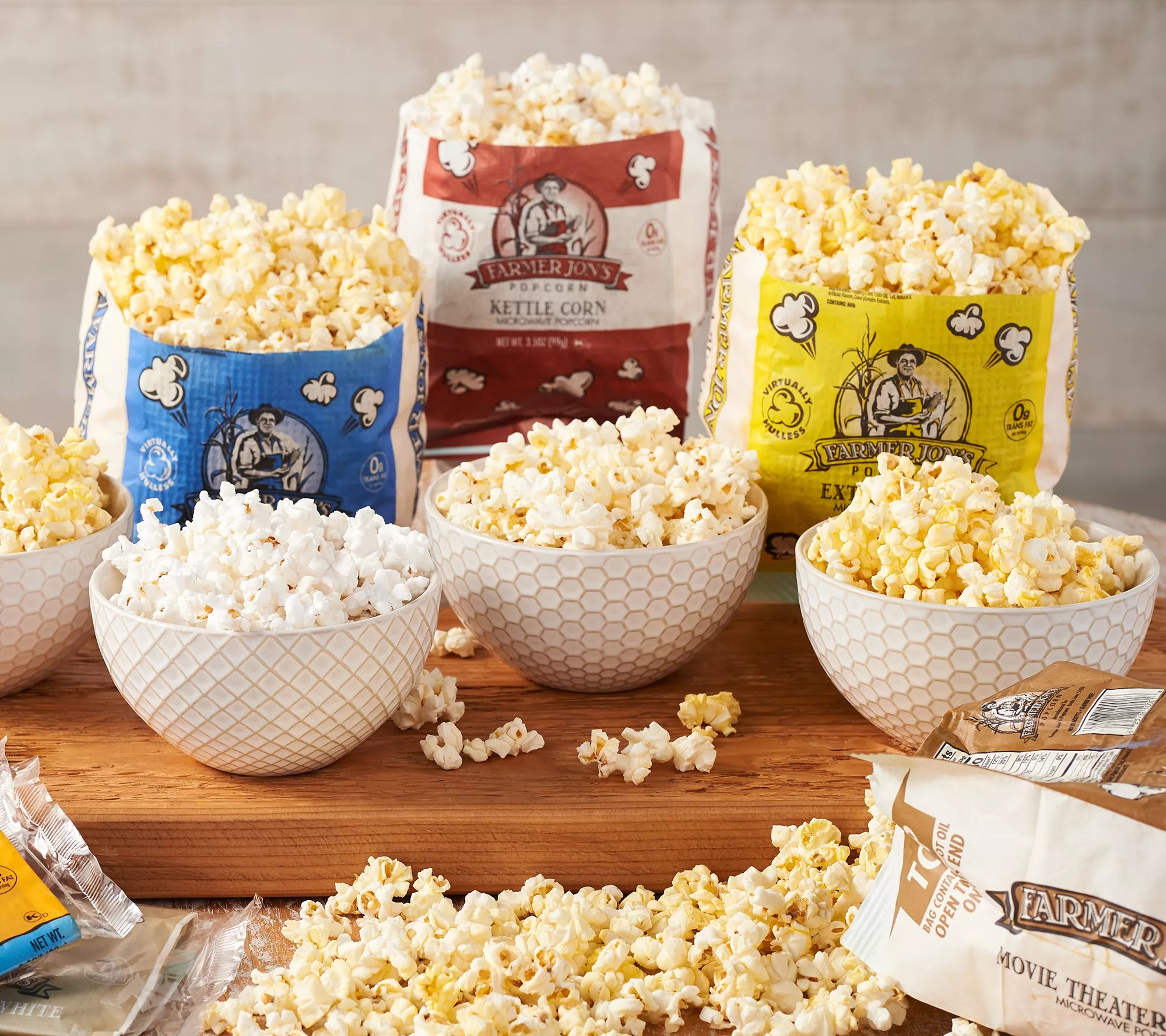 farmer jon s 21 3 5 oz bags of virtually hulless popcorn qvc com