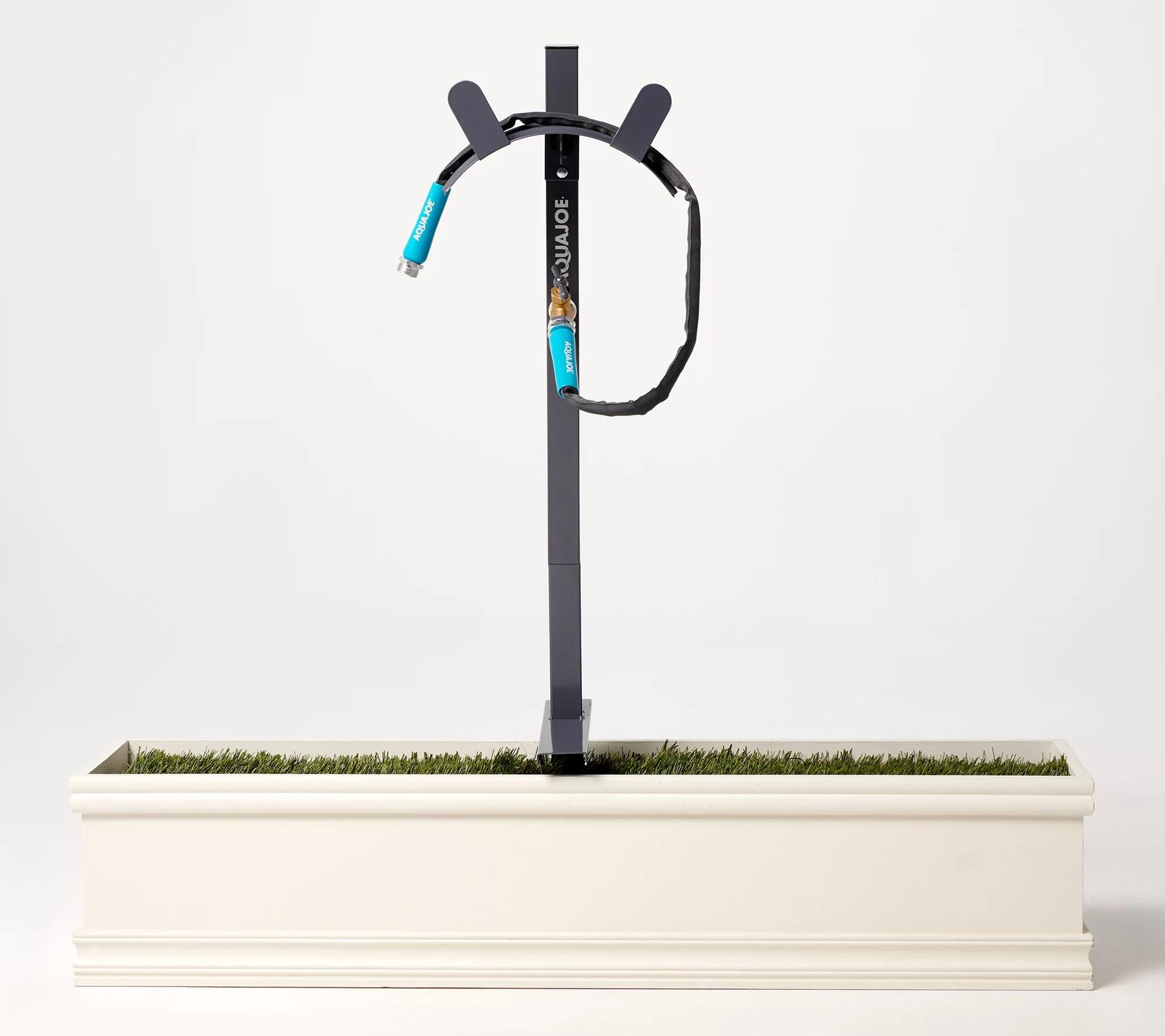 aqua joe garden hose stand with brass faucet 3ft lead hose qvc com