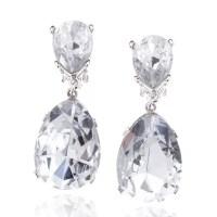 Kenneth Jay Lane Teardrop Clear Crystal Clip On Earrings ...