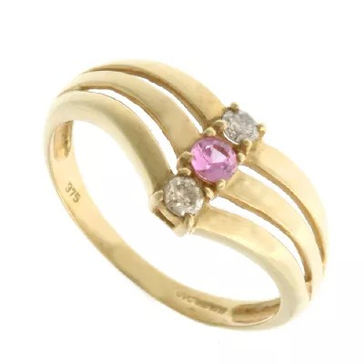 Royal Cognac Diamond & Pink Sapphire Ring 9ct Gold  Qvc Uk
