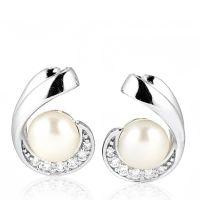 Diamonique 2.7ct tw Swirl Stud Earrings Sterling Silver ...