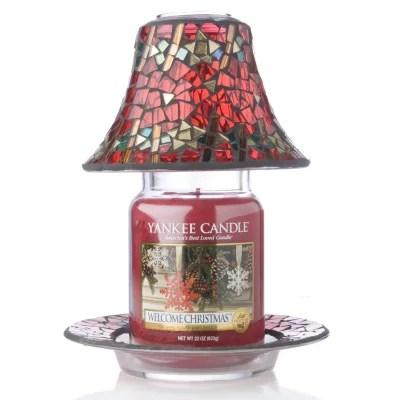 Yankee Candle Red & Gold Mosiac Shade, Tray & Large Jar